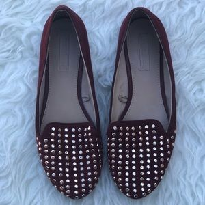 Zara trafaluc smoking slipper studded flats size 7